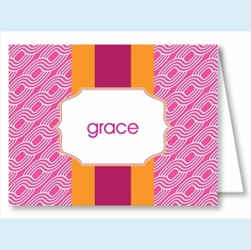 Hot Pink Chain w/Orange/Hot Pink Stripe Note Cards - click to enlarge