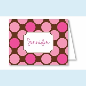 Hot Pink/Chocolate Polka Dots Note Cards - click to enlarge