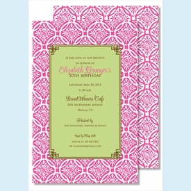 Hot Pink Floral Batik w/Lime Flood Large Flat Invitation - click to enlarge