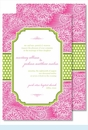 Hot Pink Floral Paisley w/Lime Dotted Stripe Large Flat Invitation