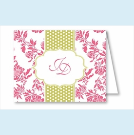 Hot Pink Floral w/Lime Dotted Stripe Note Cards - click to enlarge
