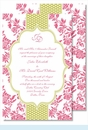 Hot Pink Floral with Lime Dotted Stripe Large Flat Invitation