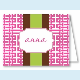 Hot Pink Gazebo w/Chocolate/Lime Stripe Note Cards - click to enlarge