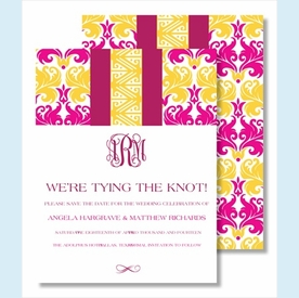 Hot Pink/Yellow Damask Stripe Small Flat Cards - click to enlarge