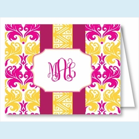 Hot Pink/Yellow Damask w/Fucshia/Yellow Stripe Note Cards - click to enlarge