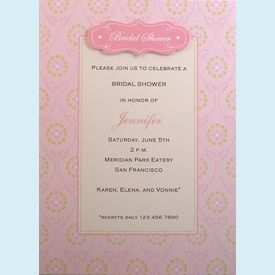 Jennifer Pink Shower Invitation - click to enlarge