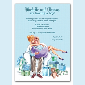 Kisses for Baby Blue Invitation (Blonde) - click to enlarge