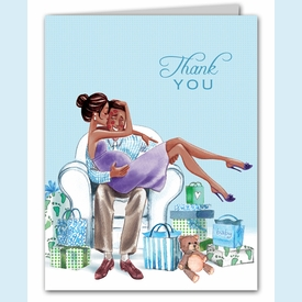 Kisses for Baby Blue Thank You Notes (Multicultural) - click to enlarge