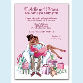 Kisses for Baby Pink Invitation (Multicultural) - click to enlarge