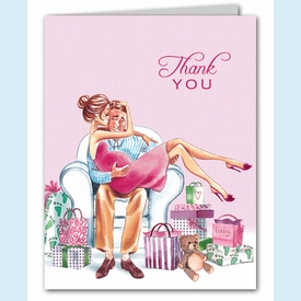 Kisses for Baby Pink Thank You Notes (Brunette) - click to enlarge