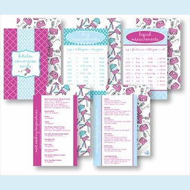 Kitchen Conversion Cards - Preppy Fuchsia & Light Blue - click to enlarge