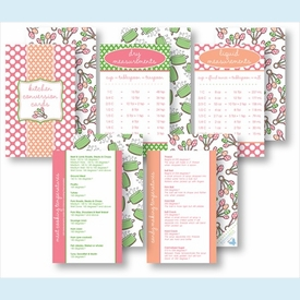 Kitchen Conversion Cards - Preppy Pink & Coral - click to enlarge