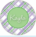 Lavender/Green Plaid Personalized Magnet