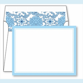 Light Blue Border Small Flat Cards w/Coordinating Liner - click to enlarge