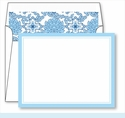 Light Blue Border Small Flat Cards w/Coordinating Liner