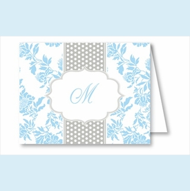 Light Blue Floral w/Gray Dotted Stripe Note Cards - click to enlarge