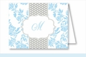 Light Blue Floral w/Gray Dotted Stripe Note Cards