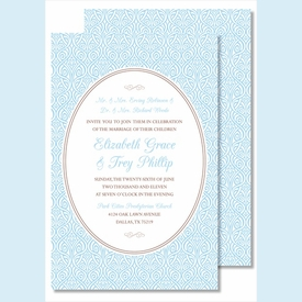 Light Blue Ornate Floral Large Flat Invitation - click to enlarge