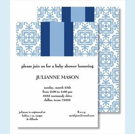 Light Blue Quilt w/ Navy/Light Blue Stripe Small Flat Cards - click to enlarge