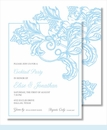 Light Blue Wood Cut Floral Small Flat Cards
