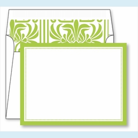 Lime Border Small Flat Cards w/Coordinating Liner - click to enlarge