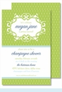 Lime Chain Link Large Flat Invitation
