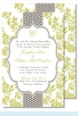 Lime Floral with Gray Dotted Stripe Large Flat Invitation