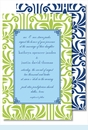 Lime Graphic Lily with Light Blue Flood Large Flat Invitation