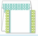 Lime Lattice Ribbon Border Small Flat Cards w/Coordinating Liner