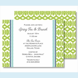 Lime Lattice Ribbon w/ Turquoise Braid Small Flat Cards - click to enlarge