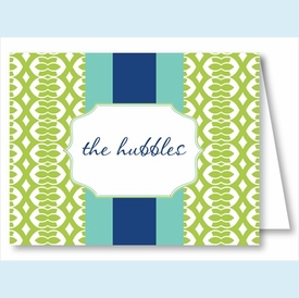 Lime Lattice Ribbon w/Turquoise/Navy Stripe Note Cards - click to enlarge