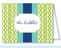 Lime Lattice Ribbon w/Turquoise/Navy Stripe Note Cards