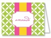 Lime Lattice w/Hot Pink/Yellow Stripe Note Cards