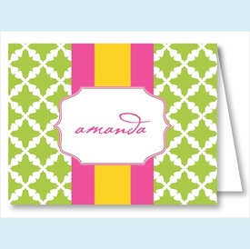 Lime Lattice w/Hot Pink/Yellow Stripe Note Cards - click to enlarge