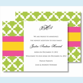 Lime Lattice w/Hot Pink/Yellow Stripe Small Flat Cards - click to enlarge