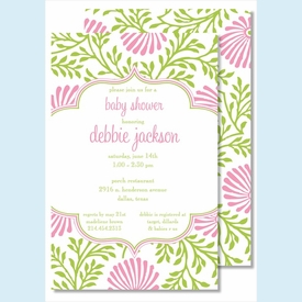 Lime/Pink Floral Large Flat Invitation - click to enlarge