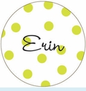 Lime Polka Dot Personalized Magnet