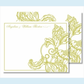 Lime Wood Cut Floral Small Flat Cards - click to enlarge