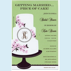 Monogram Cake Invitation - click to enlarge