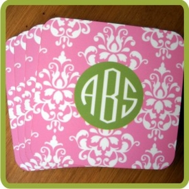 Monogrammed Cork Coaster Set - click to enlarge