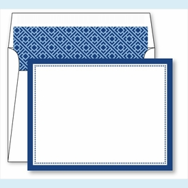Navy Border Small Flat Cards w/Coordinating Liner - click to enlarge