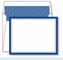 Navy Border Small Flat Cards w/Coordinating Liner