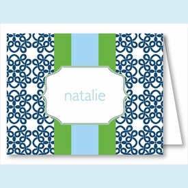 Navy Clover w/Kelly/Light Blue Stripe Note Cards - click to enlarge