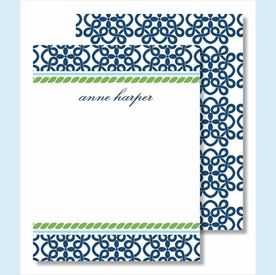 Navy Clover w/Kelly Rope Small Flat Cards - click to enlarge