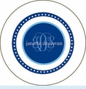 Navy Reverse Dot Personalized Mirror