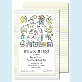 Oh Baby Multi Large Flat Invitation - click to enlarge