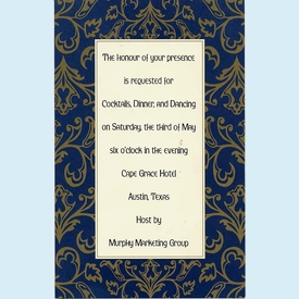 Old World Blue Invitation w/Gold Bow - click to enlarge