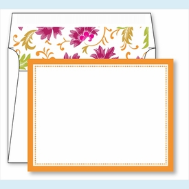 Orange Border Small Flat Cards w/Coordinating Liner - click to enlarge