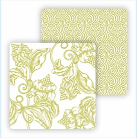 Paper Coasters - Lime Wood Cut Floral - click to enlarge