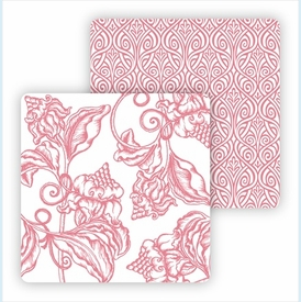 Paper Coasters - Pink Wood Cut Floral - click to enlarge